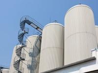 Industrial distillating columns in factory site